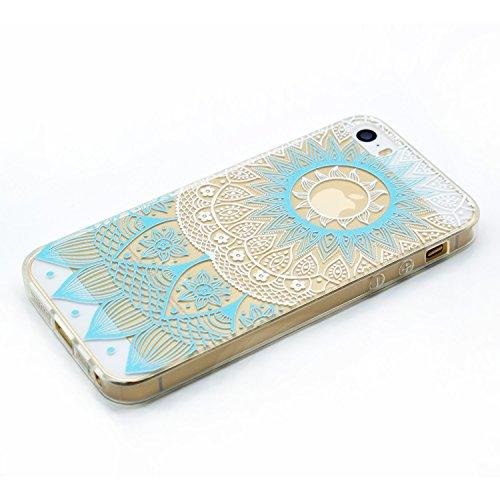 Für Apple iPhone 5 5G 5S / iPhone SE (4 Zoll) Hülle ZeWoo® TPU Schutzhülle Silikon Tasche Case Cover - MM055 / Blaues Muster