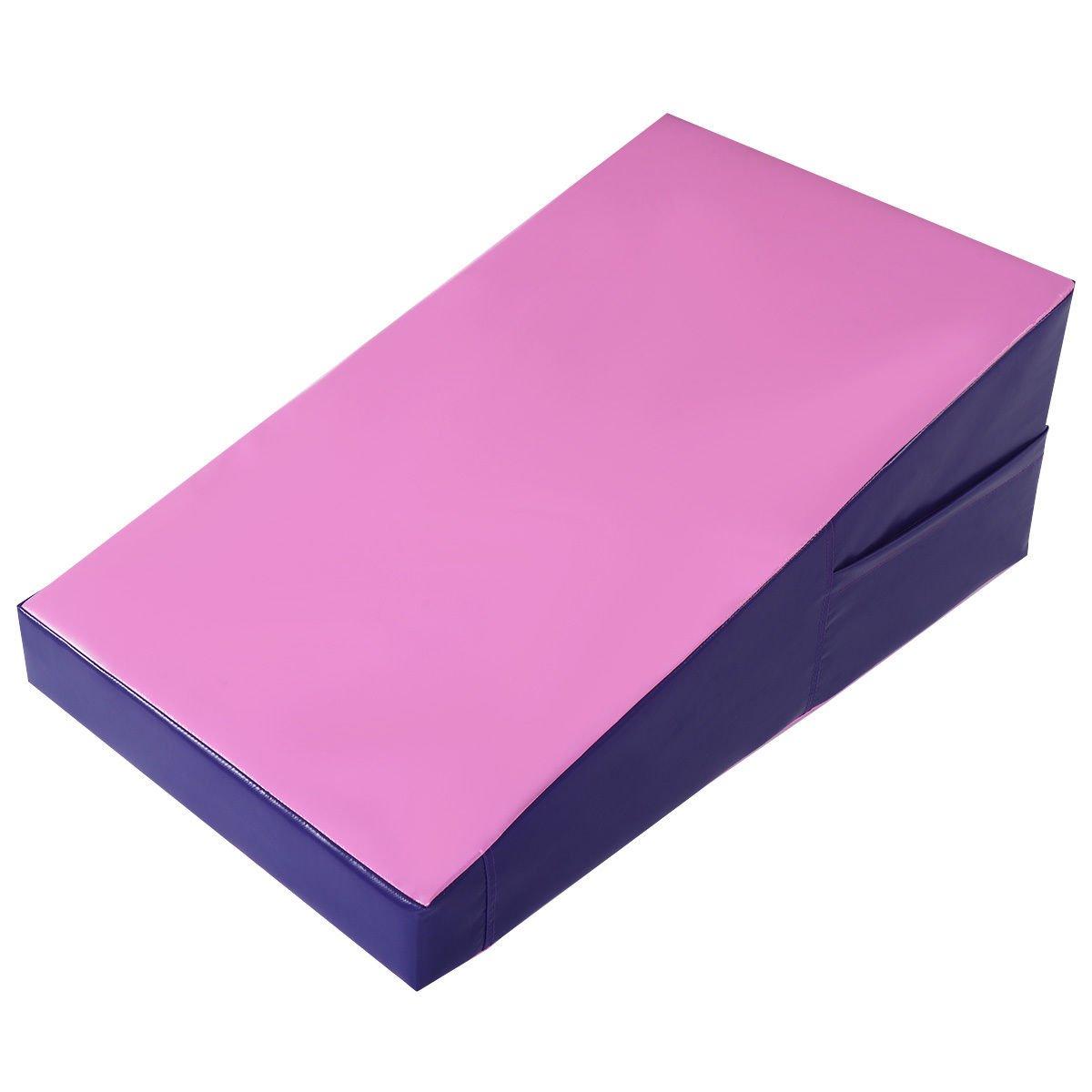 Giantex Incline Gymnastics Mat Wedge Folding and Non-Folding Gymnastics Gym Fitness Skill Shape Tumbling Mat for Kids Play Home Exercise Aerobics (Pink/Purple/Non-Folding)