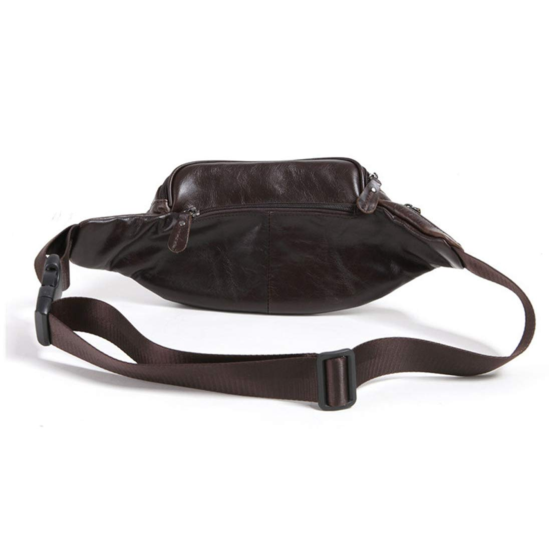 Color : Coffee Color RABILTY Leather Pack Black Waist Bag Travel Hiking Hip Bum Purse