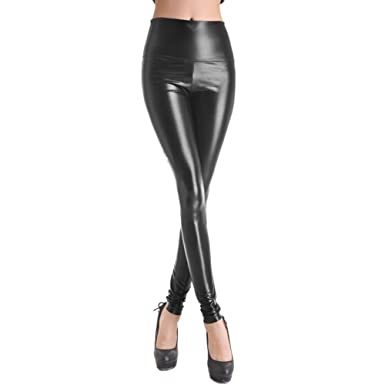 SlickBlue SEXY Womens Girls Faux Leather High Waisted Leggings at ...
