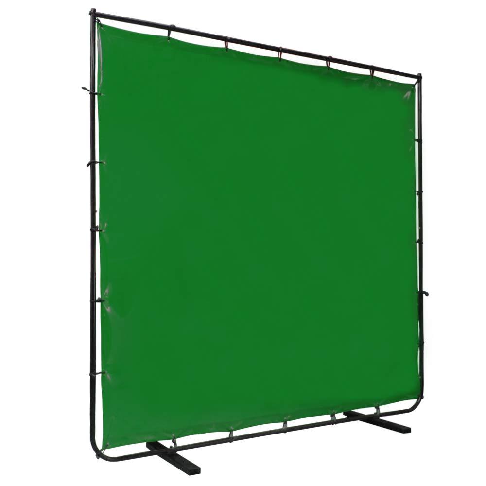 VIZ-PRO Green Vinyl Welding Curtain/Welding Screen With Frame, 8' x 6' by VIZ-PRO