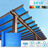 PATIO 24' x 6' Sunblock Shade Cloth Roll,Blue Sun Shade Fabric 95% UV Resistant Mesh Netting Cover for Outdoor,Backyard,Plant,Redhouse,Barn
