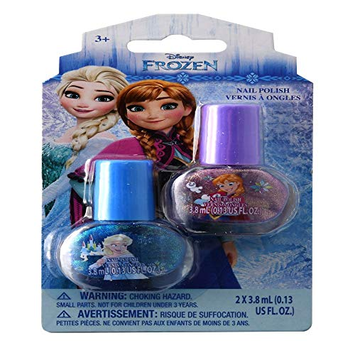 Disney Frozen 2 Pack of Nail Polish Elsa Anna Blue & Purple Party Favor Birthday Party Fashion Fingernails Toenails Art Style Decor - Cartoon Movie Character Collection for Girls (3 Items)