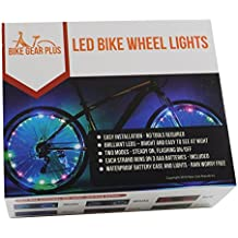 LED Bike Wheel Lights - 2 Pack Includes Batteries and Brilliant LED Lights for 2 Bicycle Wheels - Available in Blue, Green, Multi-color, Pink, Red or White - Quality by Bike Gear Plus