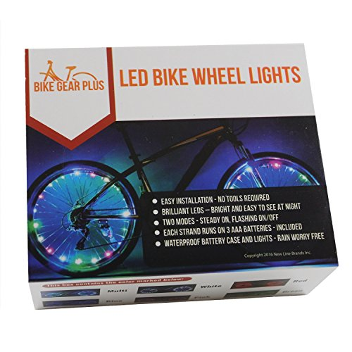 Tandem Bike Case - LED Bike Wheel Lights - Brilliant Multi-Color LEDs to Light Up 2 Bicycle Wheels - Gift Box - Batteries Included - Choose from Multi-color, Blue, Red, White, Pink, or Green - Quality by Bike Gear Plus