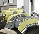 Chic Home Zarah 10 Piece Comforter Set Complete Bed in a Bag Pieced Color Block Banding Bedding with Sheet Set And Decorative Pillows Shams Included, King Yellow Grey
