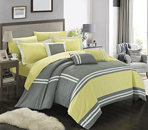 Chic Home Zarah 10 Piece Comforter Set Complete Bed in a Bag Pieced Color Block Banding Bedding with Sheet Set And Decorative Pillows Shams Included, King Yellow Grey by Chic Home