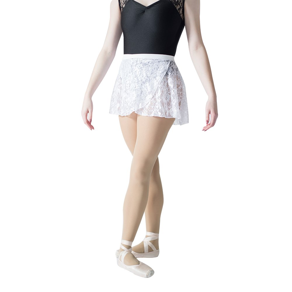 HDW DANCE Lace Dance Wrap Skirts for Women Cotton Waistband (White) by HDW DANCE
