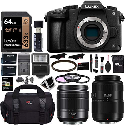 PANASONIC LUMIX DMC-G85MK G85 4K Mirrorless Camera, 12-60mm Power O.I.S. Lens, G II Vario 45-200mm Lens, Lexar 64GB, Ritz Gear SLR Camera Bag, Filter Kit, Battery, Charger and Accessory Bundle