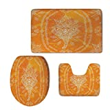 really cool shower heads iPrint 3 Piece Shower Mat Set,Elephant Mandala,Mehndi Design Sketchy Animal Head Floral Geometric Frame Print,Orange White,Customized
