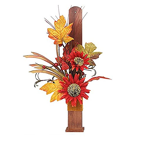 Reddish Orange Sunflower in Wood Vase Decor
