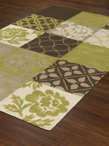"Brown Rug Modern/Contemporary Green Squares Design 5'X7'6"" (5x8) Wool Carpet"