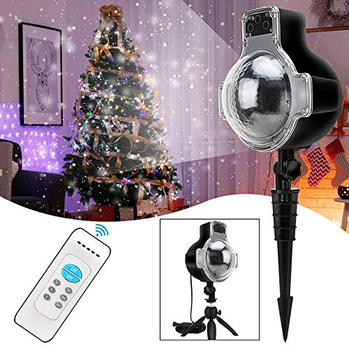 LED Snowfall Light Remote Control Christmas Snow Falling Night Projector Lights White Snowflake Flurries Rotating Spotlight Outdoor Indoor Landscape Decorative Lighting (Style B) by Asunflower (Image #8)