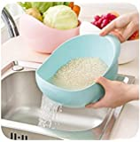 MosQuick® Big Size Plastic Grains & Vegetables Washing Bowl & Strainer (Blue)