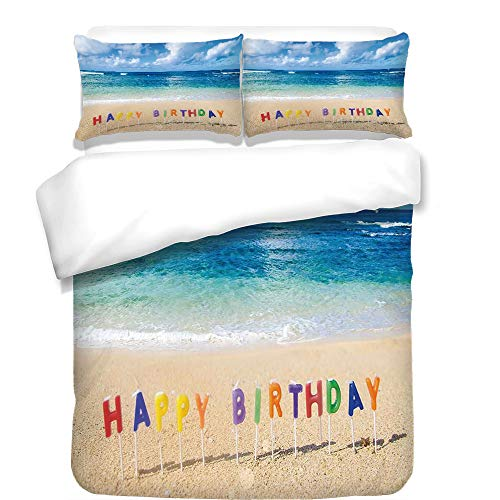 iPrint Duvet Cover Set,Birthday Decorations,Happy Birthday Sign on the Tropical Beach in Hawaii Sweet Surprise,Multicolor,Best Bedding Gifts for Family Or Friends by iPrint