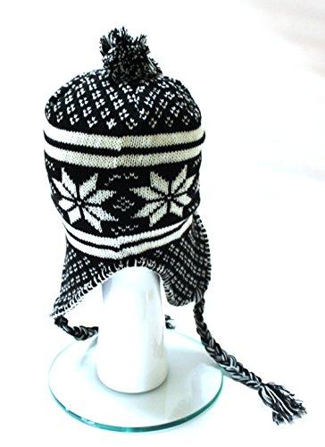 À Un De W12 black Neige Protection Oreille 35 Bonnet D'hiver Polar Flocon Cristaux Pompon Nepalmütze wqAv0wT