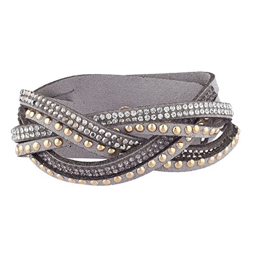 Lux Accessories Grey Gold Tone Studded Sticker Stone Bling Multi Wrap Bracelet Suede Fashion Bracelet