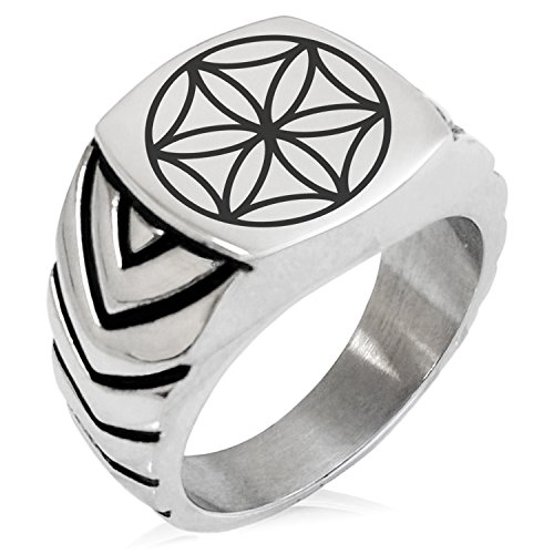 Two-Tone Stainless Steel Aphrodite Greek Goddess of Love Engraved Chevron Pattern Biker Style Polished Ring, Size 8