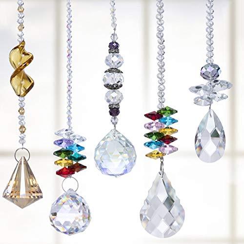H&D Suncatcher Crystals Pendants Chandelier Crystal Prisms Hanging Ornament Chakra Crystal Rainbow Maker Pendants,Pack of 5