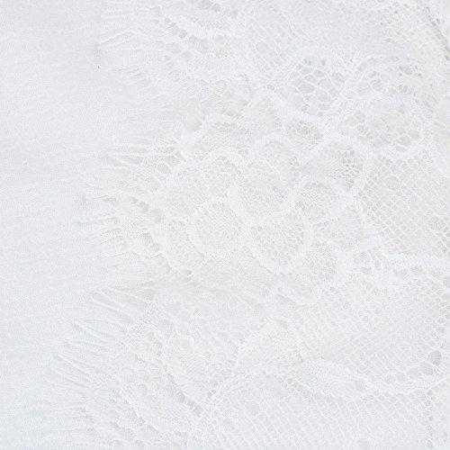 Donna Maglia sera Pure scollo T Fashion Taglia a Tank Elegante shirt Sexy Camicetta Casual con a Pizzo cotone V Canotta Chic Cocktail allentata di Colore Top senza Adeshop in Xl Bianco maniche S Fnqt7x0BB