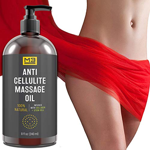 51sGHQVdhuL - M3 Naturals Anti Cellulite Massage Oil Infused with Collagen and Stem Cell Natural Essential Oil Lotion Firm Tighten Skin Tone Unwanted Fat Tissue Stretch Mark Removal Cream Massager Fascia Blaster