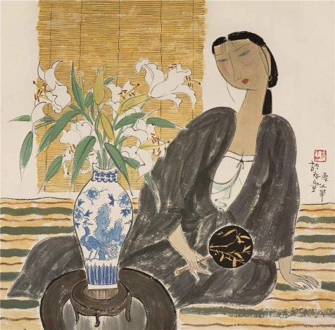 Oil Painting 'Hu Yongkai,Woman With Lilies,21th Century', 10 x 10 inch / 25 x 26 cm , on High Definition HD canvas prints is for Gifts And Basement, Game Room And Kids Room Decoration