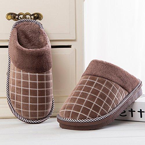 Habuji autunno e inverno il cotone pantofole per uomini e donne calde interne scivoloso home spesse pantofole con suole di pavimento in legno con la metà di un sacchetto, 42-43, caffè