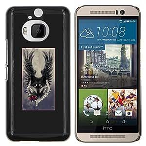 Ángel Grey Hound Dog Romántica- Metal de aluminio y de plástico duro Caja del teléfono - Negro - HTC One M9+ / M9 Plus (Not M9)