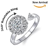 NEW-EC Rotatable Rings For Women Teen Girls Crown Flower Cubic Zirconia Adjustable Wrap Open Cuff Rings Rotating Bearing Fidget Spinner Ring Wedding Engagement Ring Funny Finger Toy (Silver)