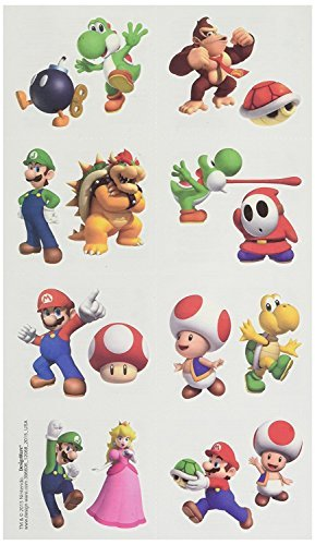 Amscan Super Mario Brothers Birthday Party Temporary Tattoo Favors, Multicolor, 2 x 1 3/4 -