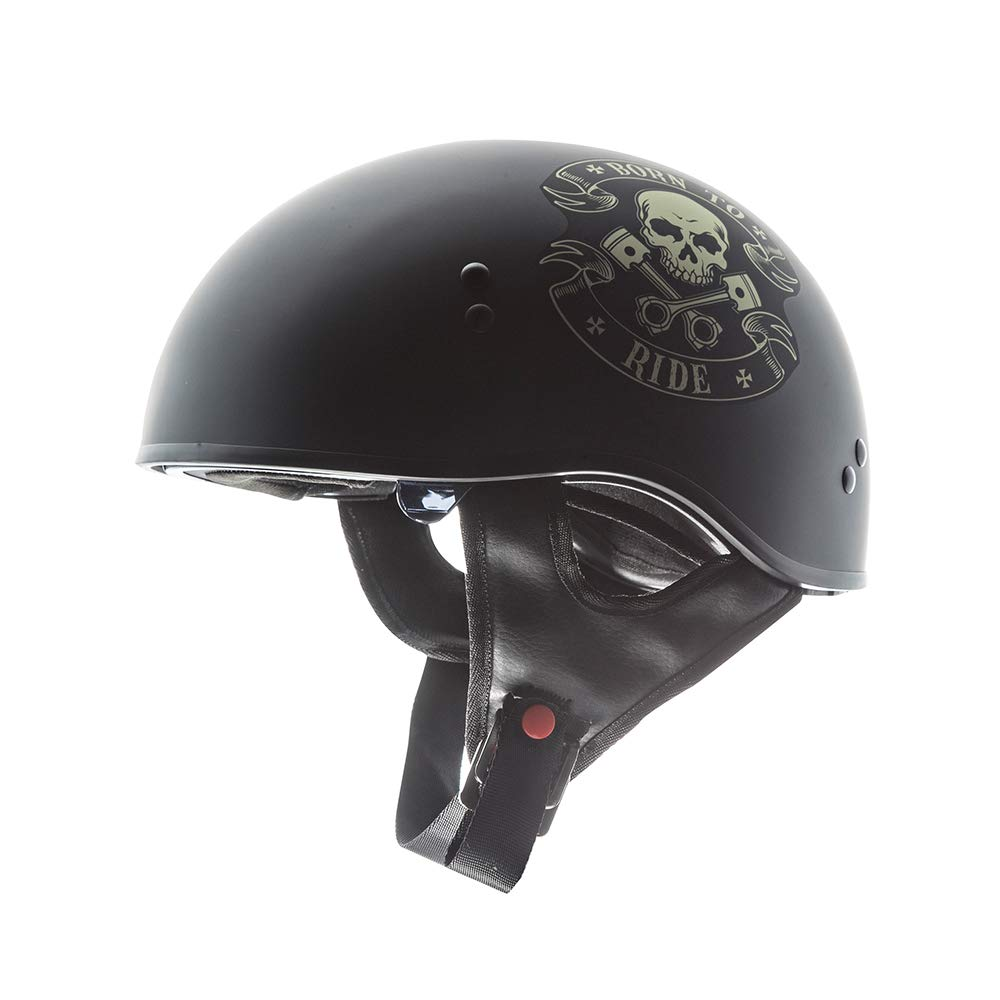 TORC Unisex-Adult T55 Spec-Op Motorcycle Half Helmet with Graphic and Drop-Down Sun Visor (Born to Ride)) (Flat Black Large