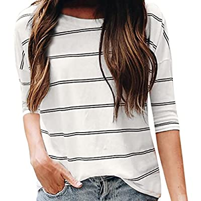 Women Blouse, ? Ninasill ? Hot Sale ! Casual Loose O Neck Elbow Sleeve Stripe Tops T Shirt Tank
