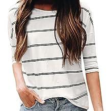 Women Blouse, ღ Ninasill ღ Hot Sale ! Casual Loose O Neck Elbow Sleeve Stripe Tops T Shirt Tank (L, White)