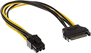 Monoprice 108494 SATA 8-Inch 15-Pin to 6-Pin PCI Express Card Power Cable, Black