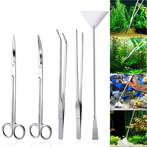 Set Aquarium Fish Plants (UEETEK Aquarium Tools Kit 5 in 1 Stainless Steel Fish Tank Aquatic Plant Tweezers Scissor Spatula Sets)