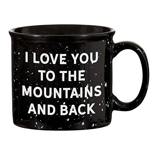 - SB Design Studio D4444 Sips Black Ceramic Campfire Mugs, 13-Ounces, Love You