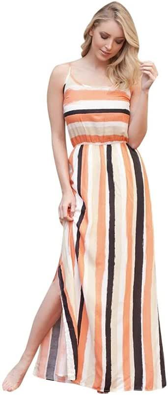 Faldas mujer, meibax Mujeres Summer Striped Impresión Faldas Larga ...