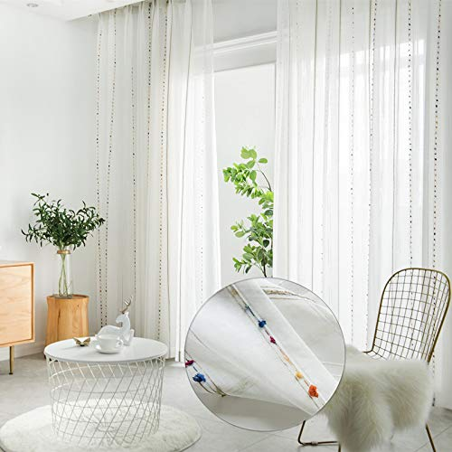 WINYY Sliding Glass Door Sheer Curtain Panel Cotton Polyester Fabric Voile Curtain Window Treatment Rod Pocket Top Tulle Gauze Cafe Home Decor 1 Piece (52
