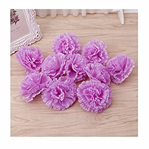 BecauseOf Artificial Carnation Flower Heads Floral DIY for Garden Party Wedding Home Decor, Pack of 10 90