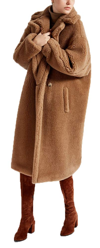 Women's Oversized Woolen Lapel Coat Thicken Faux Fur Shearling Jackets Long Winter Warm Outerwear Khaki 2XL