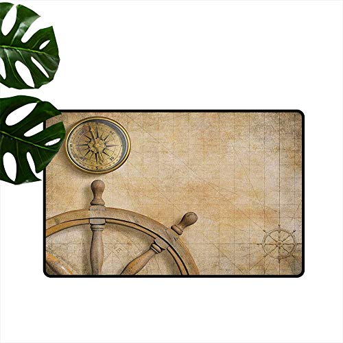 (RenteriaDecor Nautical,Printed Floor Mats Steering Wheel and Compass Vintage Map Setting Captains Chamber Finding Treasure Print 36