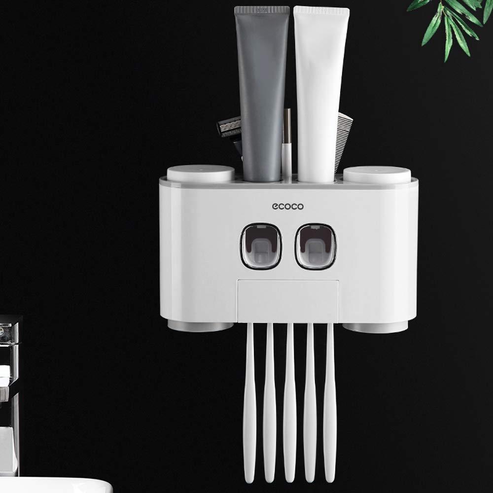 """per bambini e adulti con distributore di dentrificio e supporto per gli spazzolini Portaspazzolino da parete /""""ecoco/"""" automatico Blusea"""