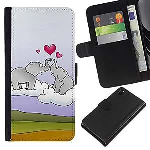 Ihec-Tech / Flip PU Cuero Cover Case para Sony Xperia Z3 D6603 / D6633 / D6643 / D6653 / D6616 - Elephant and heart