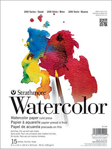 Strathmore (25-109 STR-025-109 15 Sheet Cold Press Watercolor Pad, 9 by 12