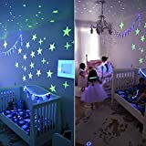Glowing in the Dark Stars Wall Stickers Adhesive 200 Stars and 1 Glowing Moon for Kids Bedding Room,Ceiling Decors