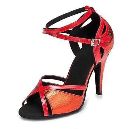 T.T-Q Scarpe da ballo da donna Samba Leather Leatherette Customized Heel Red