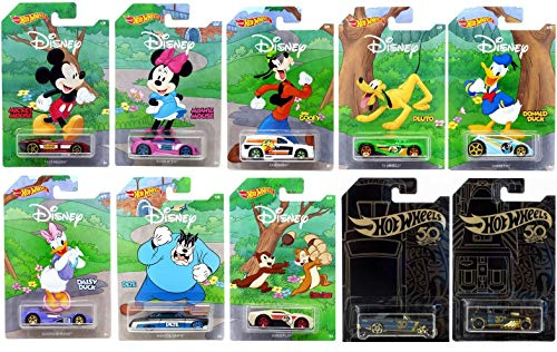 Hot Wheels 2019 Disney 90th Anniversary 10 Pack Exclusive Car Set with Bonus Collectibles Toy Car
