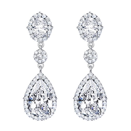 SELOVO Women's Teardrop Dangle Earrings Silver Tone Wedding Bridal Earrings