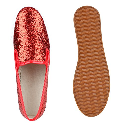 Japado Komfortable Damen Sneakers Bequeme Slipper Funkelnde Glitzerapplikationen Modische Plateausohle Gr. 36-41 Rot