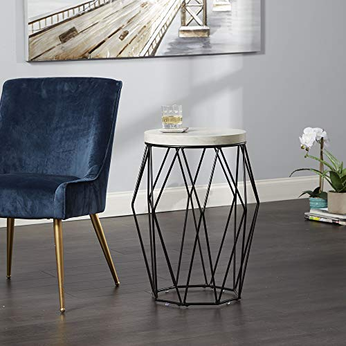 Silverwood CPFT1324B Side Table, Black with Faux Marble
